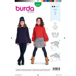 Burda Style Child's Fashionable Pullover Jumper with Sleeve Options Sewing Pattern 9335