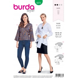 Burda Style Misses' Fashionable Wrap Blouse with Bow Options Sewing Pattern 6373