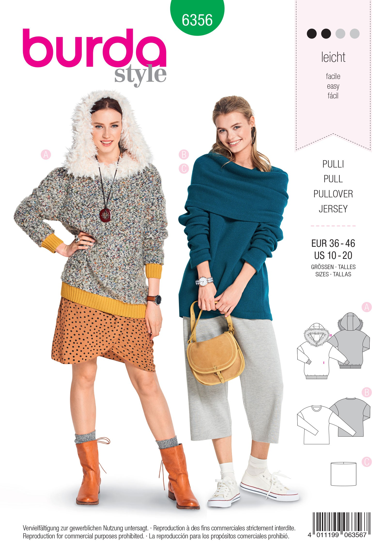 Burda Style Misses' Loose Fitting Pullover Jumper With Hood Sewing Pattern 6366