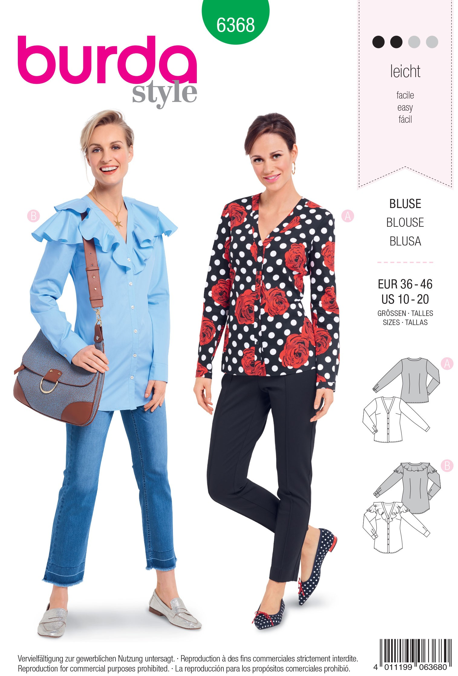 Burda Style Misses' Fashionable Wrap Blouse with Bow Options Sewing Pattern 6368