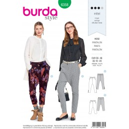 Burda Sewing Pattern 6358 Style Misses' Loose Fitting Low Crotch Trendy Trousers
