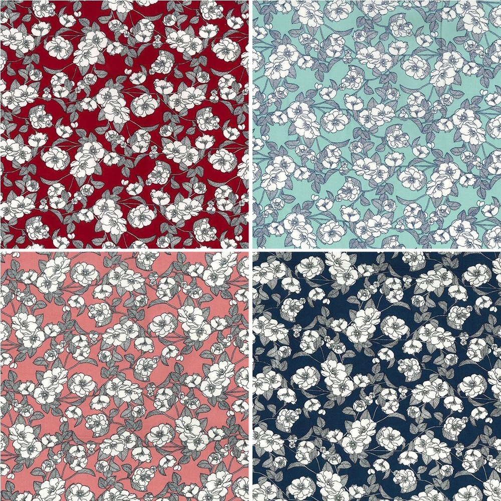 Mint 100% Cotton Poplin Fabric Rose & Hubble White Poppy Poppies Floral Flower