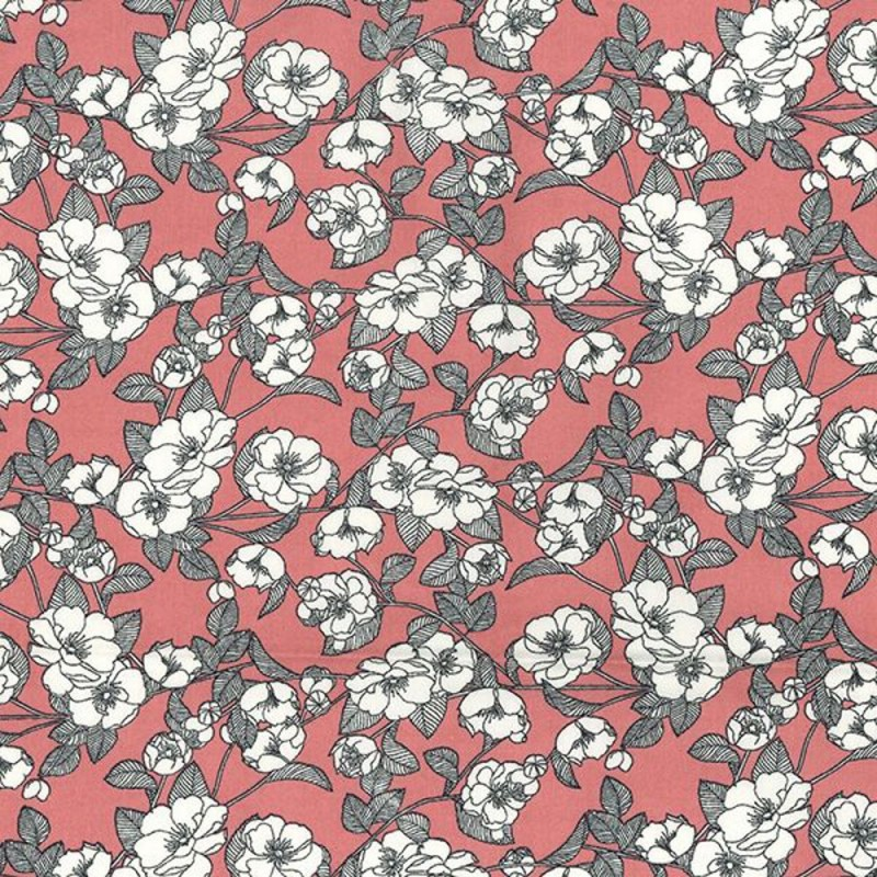 Rose 100% Cotton Poplin Fabric Rose & Hubble White Poppy Poppies Floral Flower