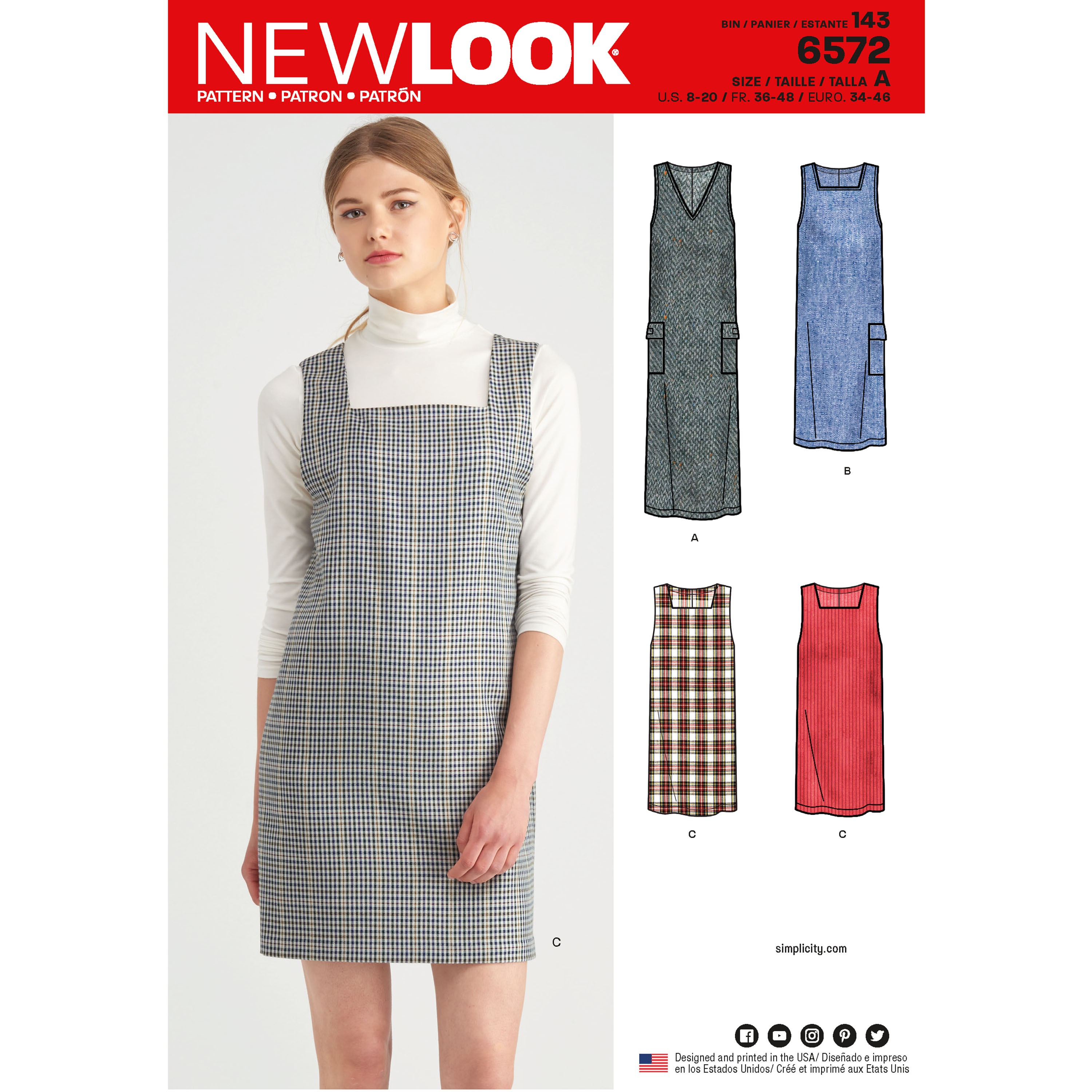 New Look Sewing Pattern 6572 Women's Jumper Pinafore Dress