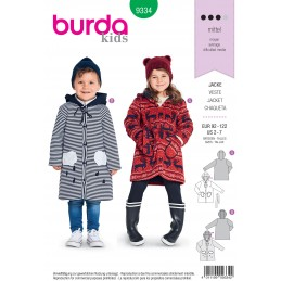 Burda Style Child's and Toddler's Button Up Dress Sewing Pattern 9332