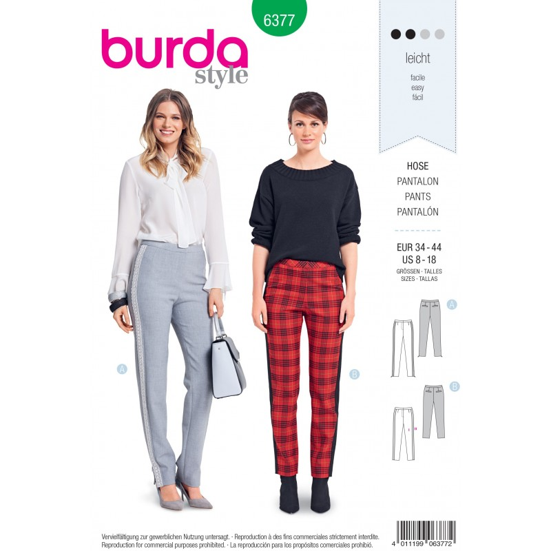 Burda Style Misses' Smart and Trendy Fitted Trousers Sewing Pattern 6377