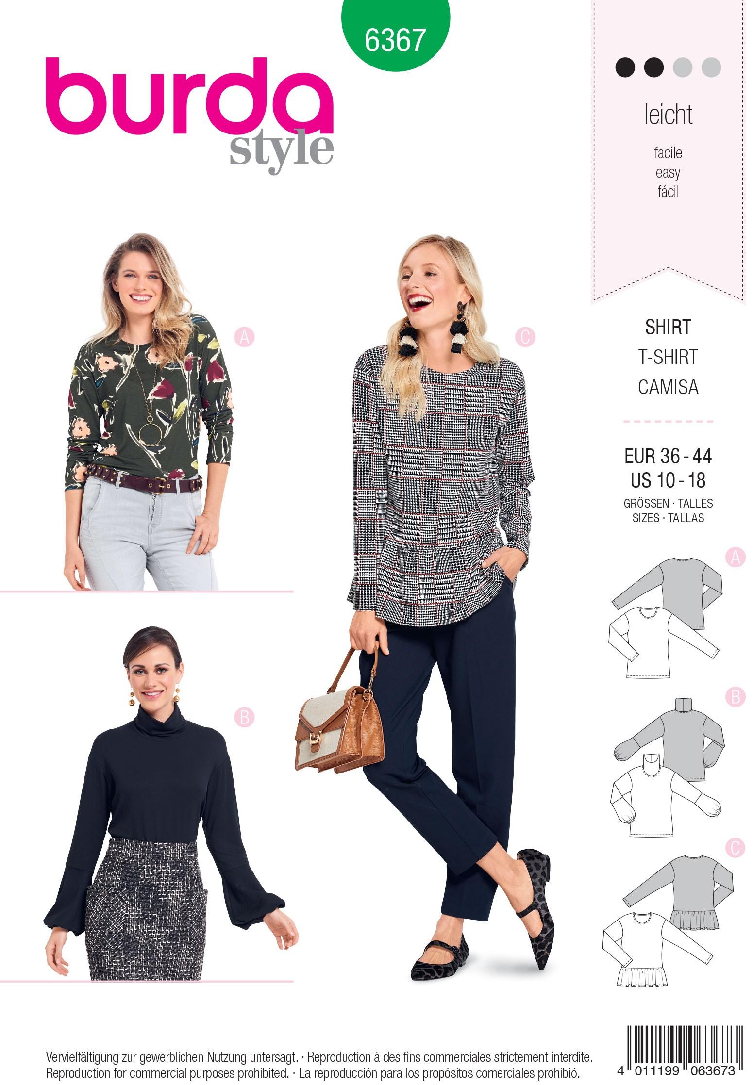 Burda Style Misses' Classic Plain Top Sewing Pattern 6367