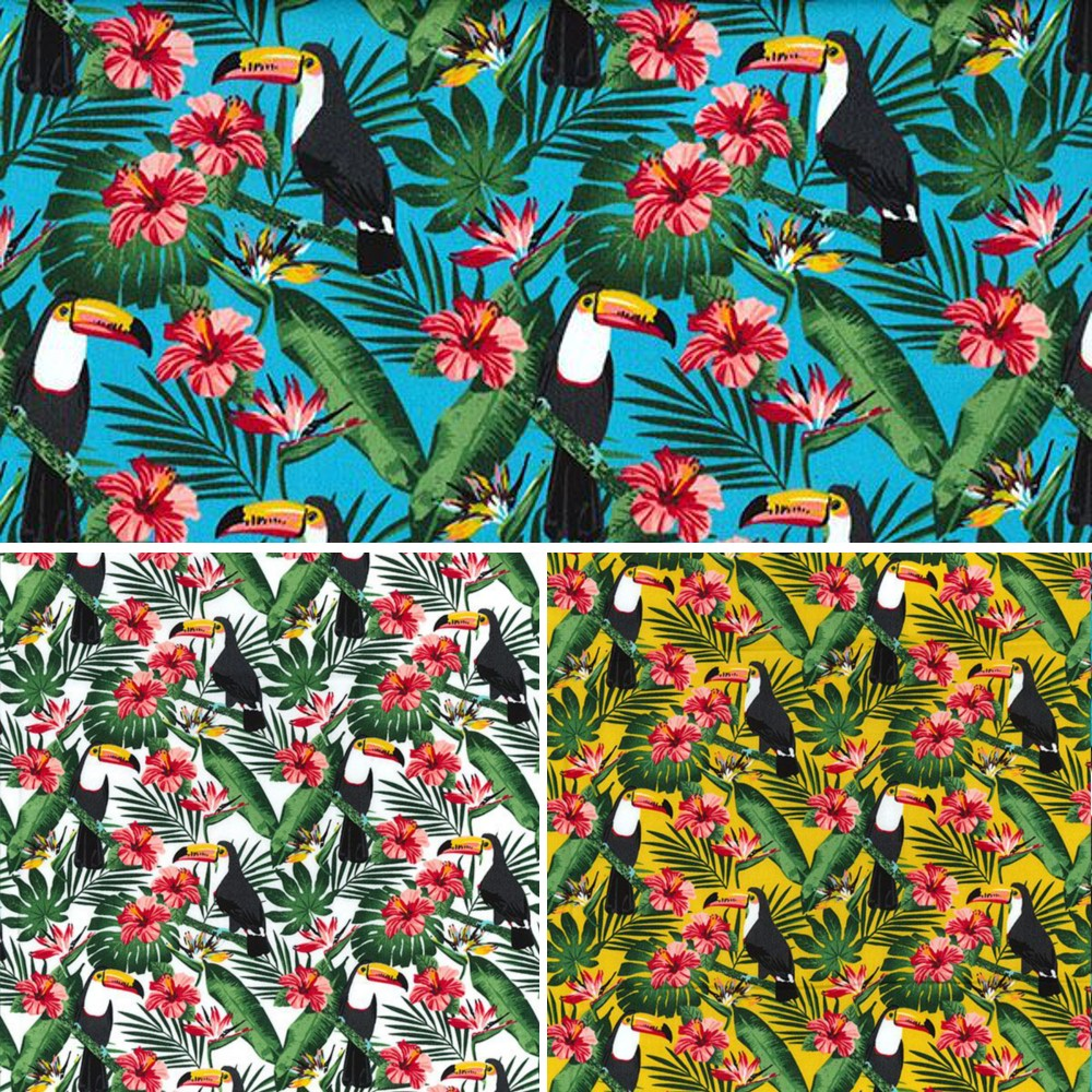 Yellow 100% Cotton Poplin Fabric Rose & Hubble Toucan Birds Perched Fern Leaves