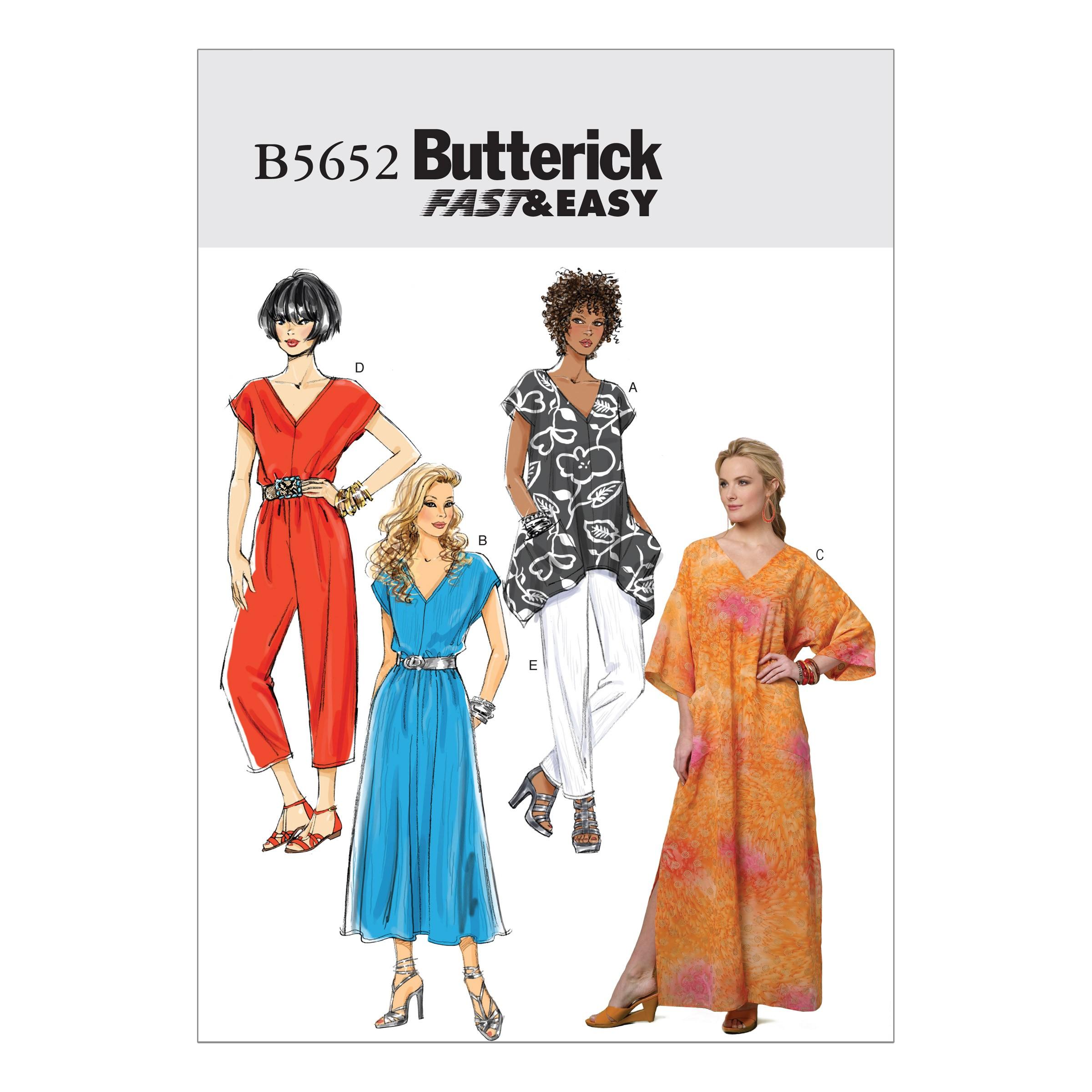 Butterick Sewing Pattern 5652 Misses' Top Dress Caftan Jumpsuit & Trousers