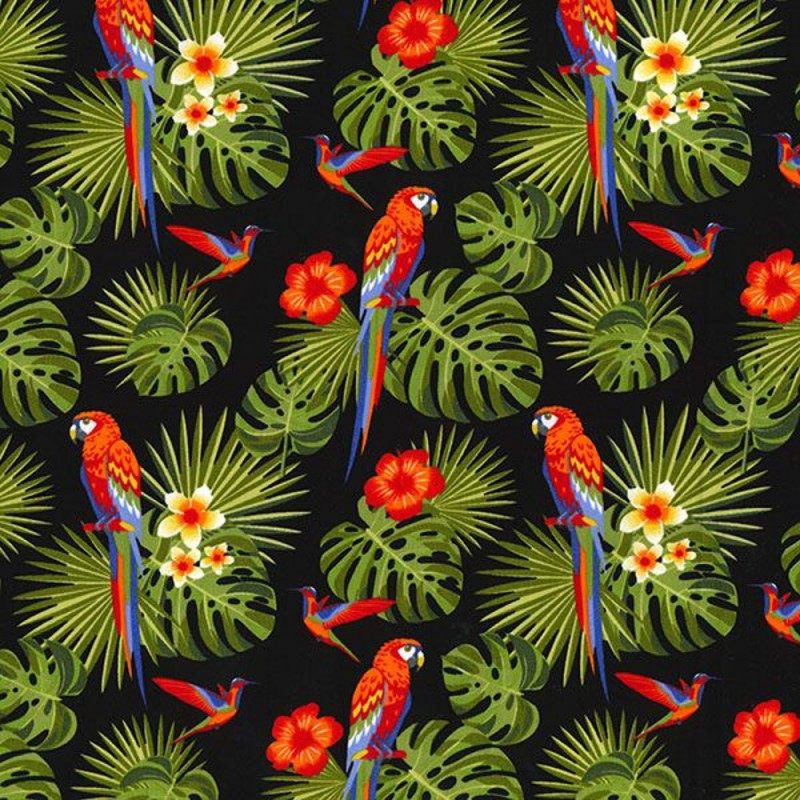 Black 100% Cotton Poplin Fabric Rose & Hubble Parrots Perched Rainforest Fern Leaves
