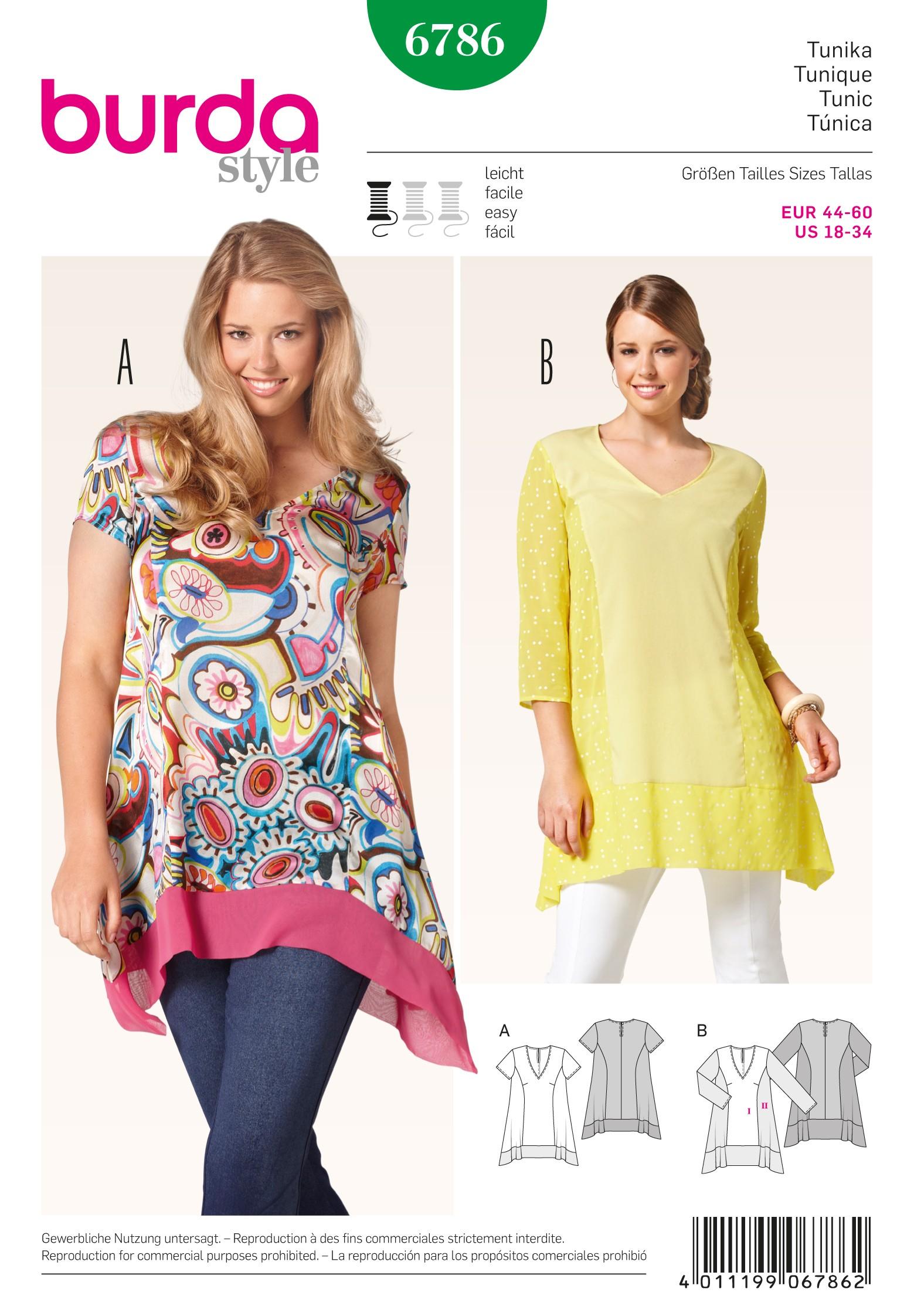 Burda Style Womans' Feminine Collared Blouse Sewing Pattern 6786