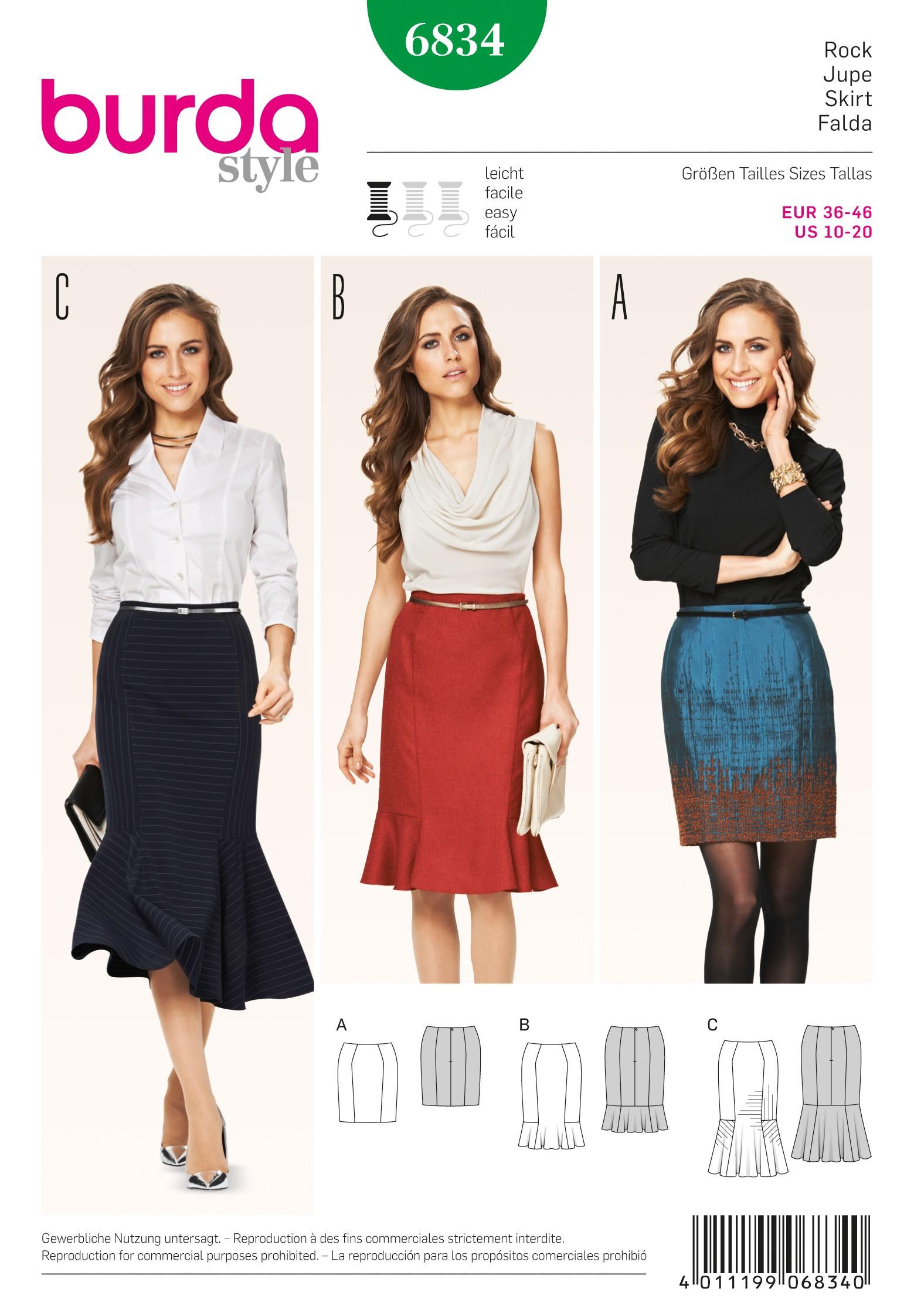 Burda Style Misses' Three Length Pencil Skirt Sewing Pattern 6834