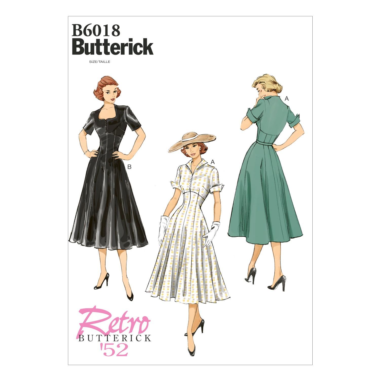 Butterick Sewing Pattern 6018 Women's Retro Evening Dress Flared Skirt E5 14-22