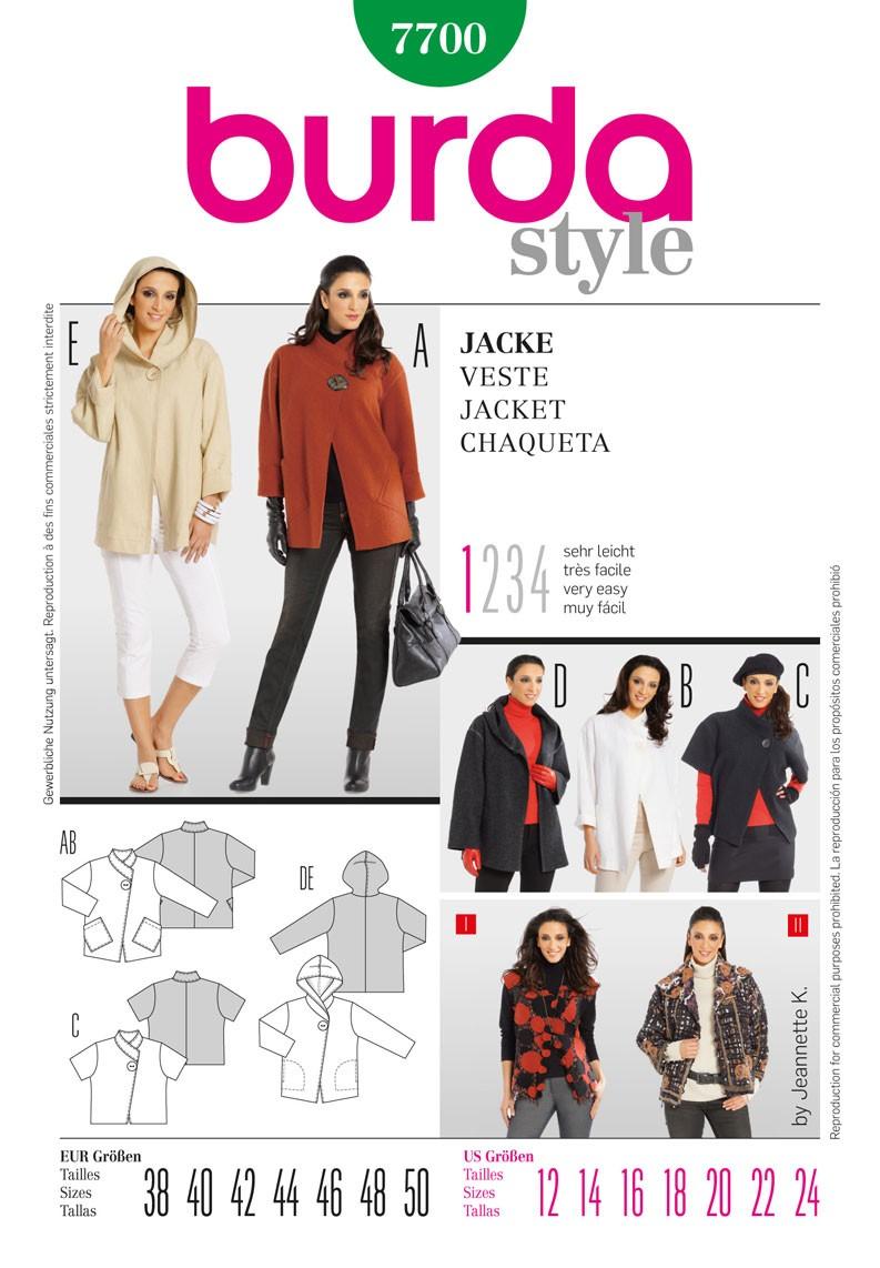 Burda Style Misses' Designer Formal Winter Coat Sewing Pattern 7700