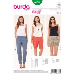 Burda Sewing Pattern 6938 Style Misses' Summer Trousers and Shorts