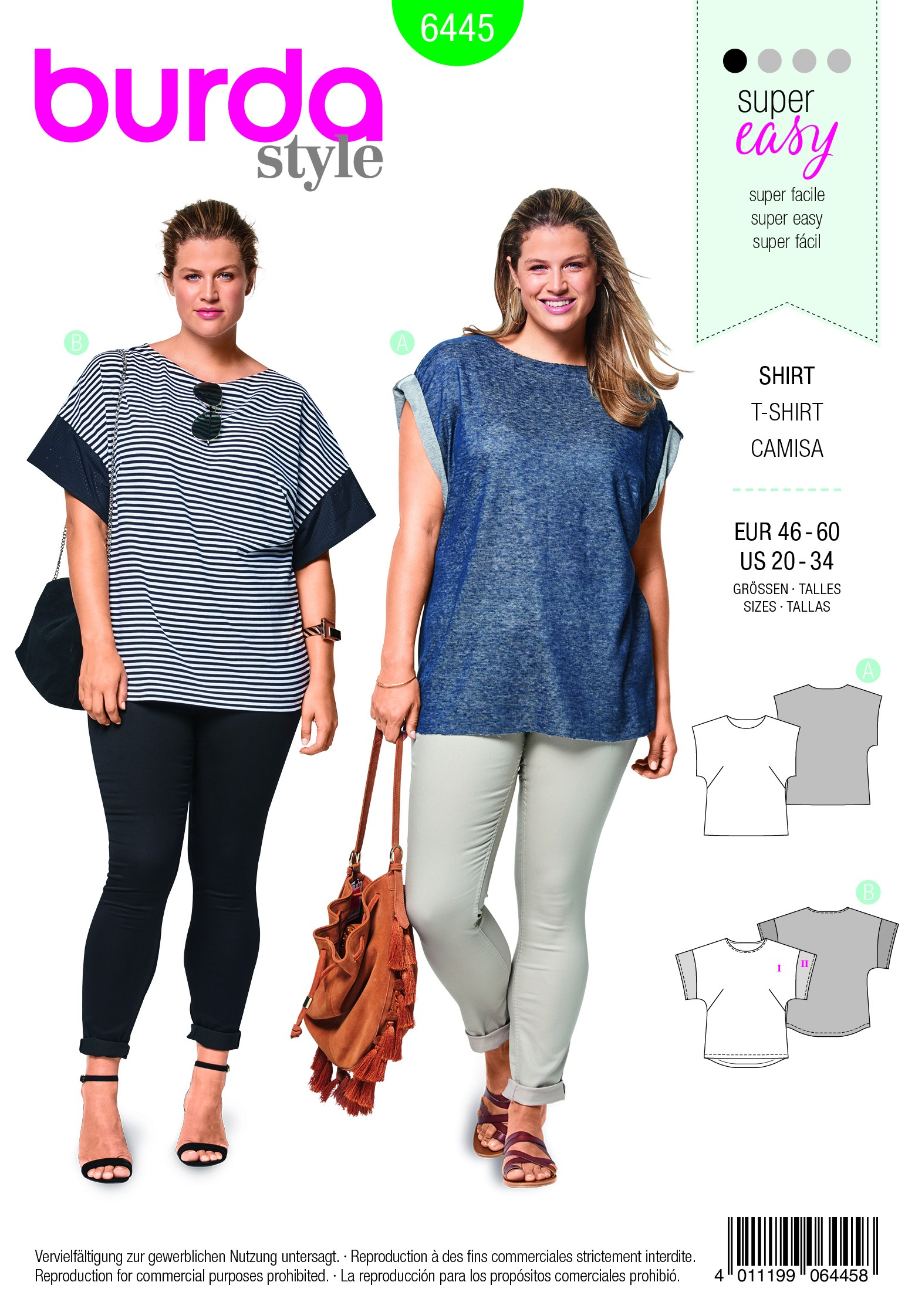 Burda Style Womans' Simple Casual Fitting Tops Sewing Pattern 6786