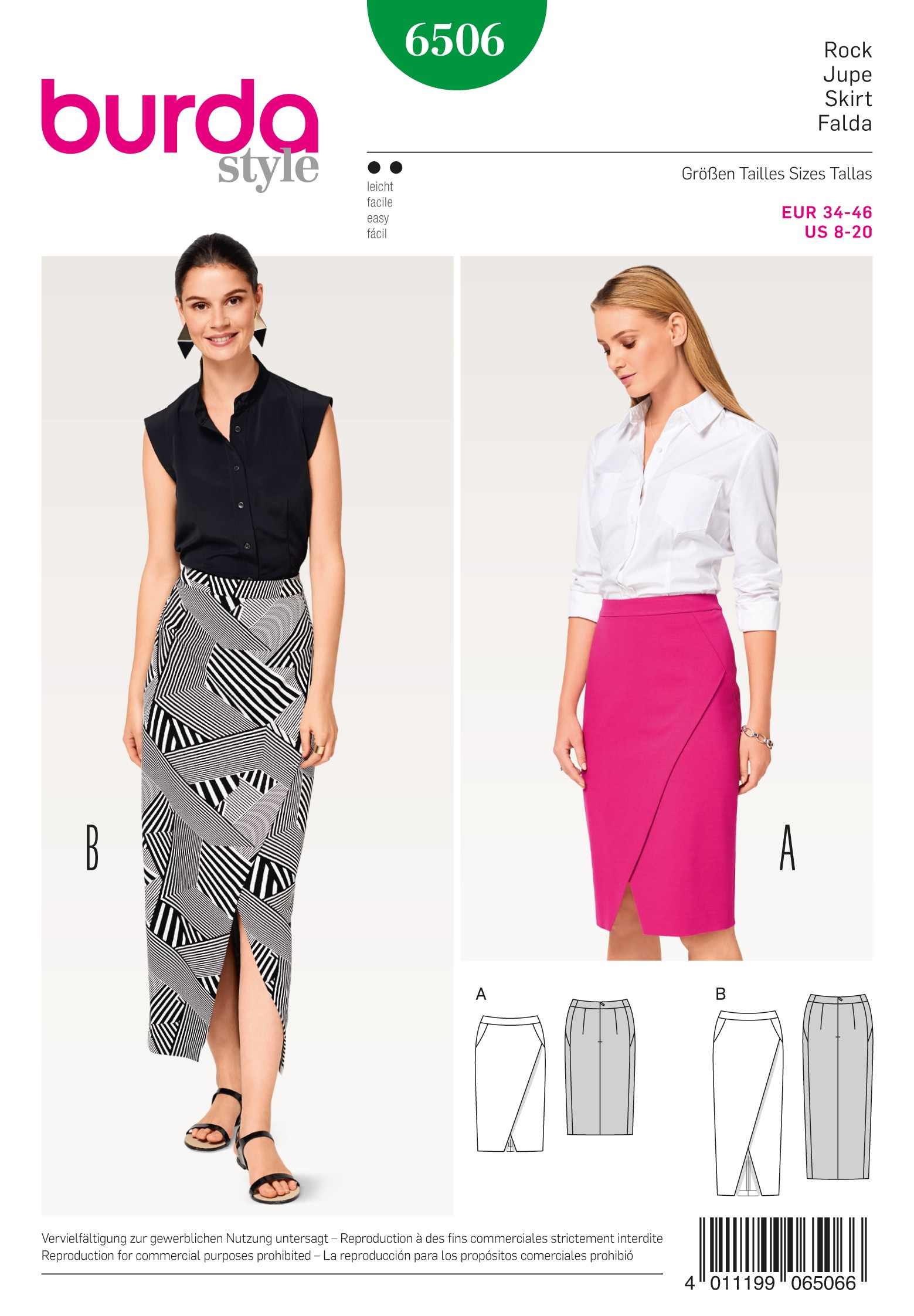 Burda Style Misses' Pencil Skirt with Slit Sewing Pattern 6506