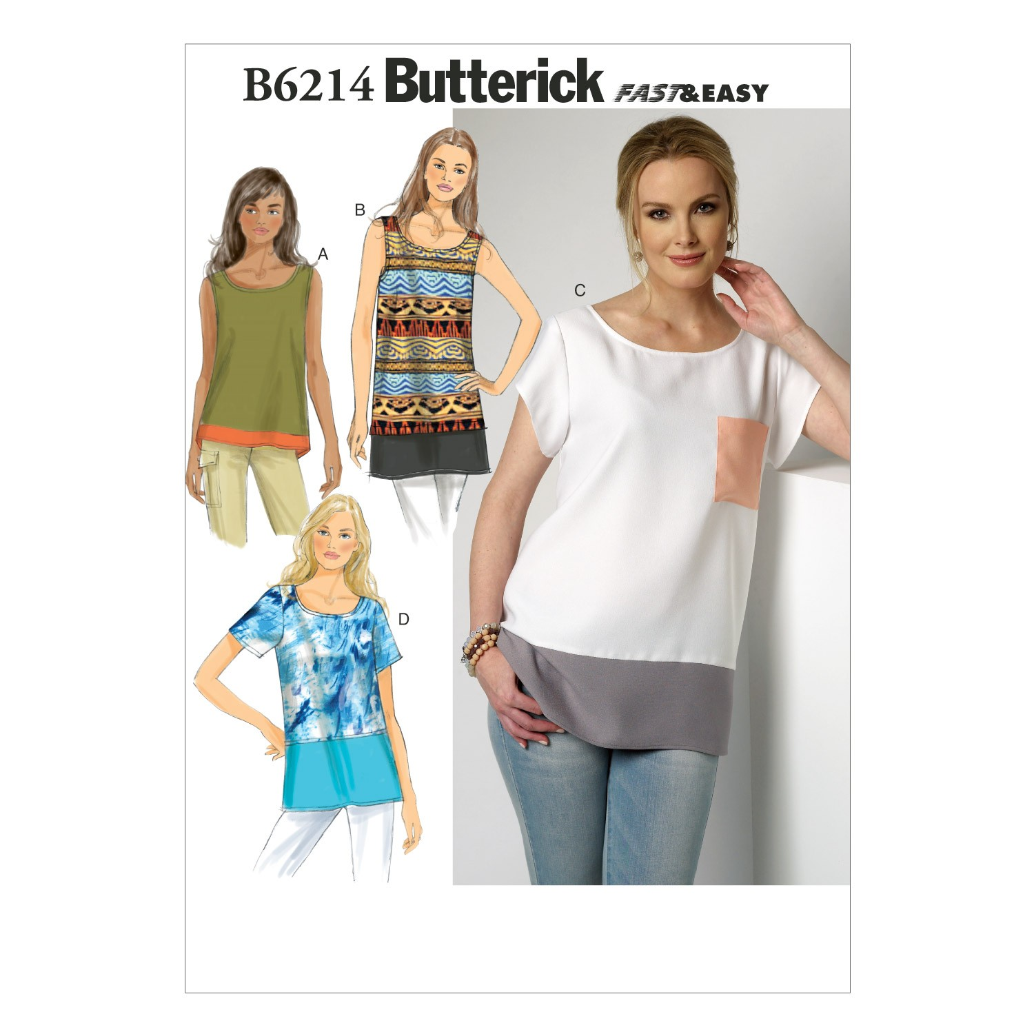 Butterick Sewing Pattern 6214 Misses' Loose Fitting Top & Tunic