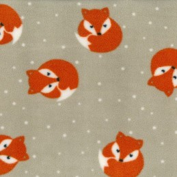 Beige Polar Fleece Anti Pil Fabric Sleeping Foxed Woodland Animals Polka Dots Spots