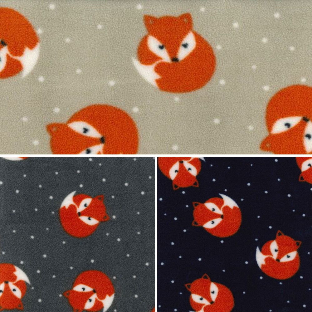 Beige Polar Fleece Anti Pil Fabric Sleeping Foxed Woodland Animals Polka Dots Spots