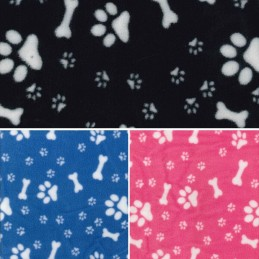 Polar Fleece Anti Pil Fabric Dog Paw Prints & Bones Puppy Puppies Pet Blanket
