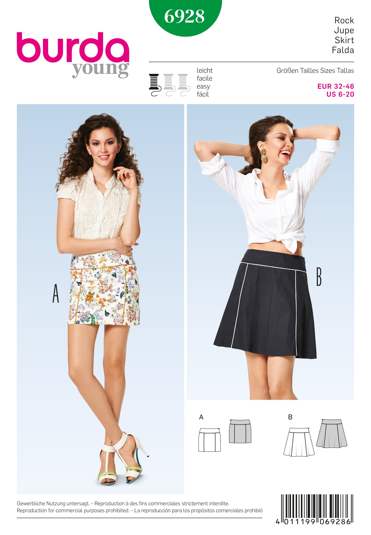 Burda Style Misses' Fashionable Skirt with Two Shapes Sewing Pattern 6928