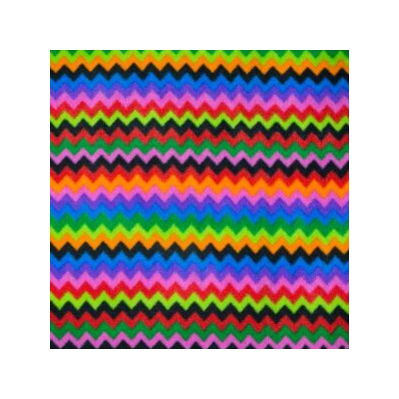 Col. 1 Polar Fleece Anti Pil Fabric Rainbow Crazy Zig Zag Chevron Stripes