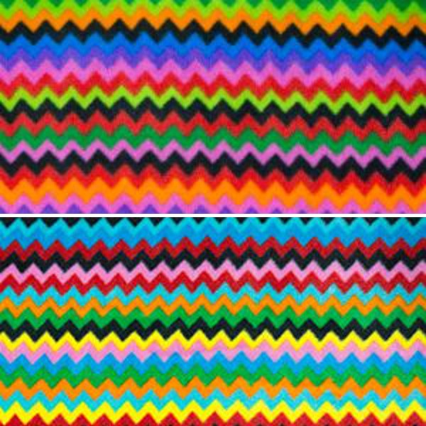 Col. 2 Polar Fleece Anti Pil Fabric Rainbow Crazy Zig Zag Chevron Stripes