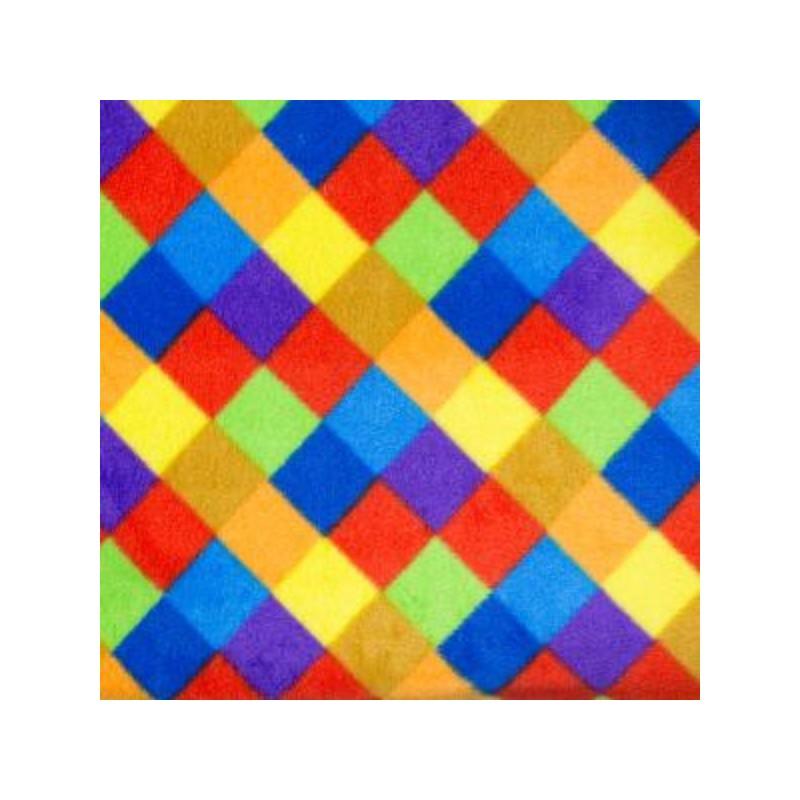 Col. 1 Polar Fleece Anti Pil Fabric Multi Coloured Check Squares