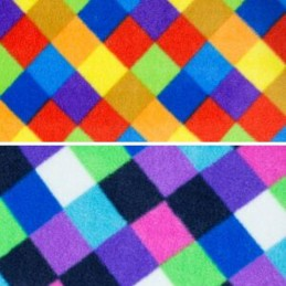 Polar Fleece Anti Pil Fabric Multi Coloured Check Squares
