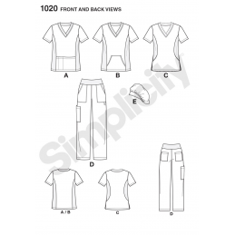 Simplicity Sewing Pattern 1020 Misses Easy To Sew Nurses Doctors Scrubs BB