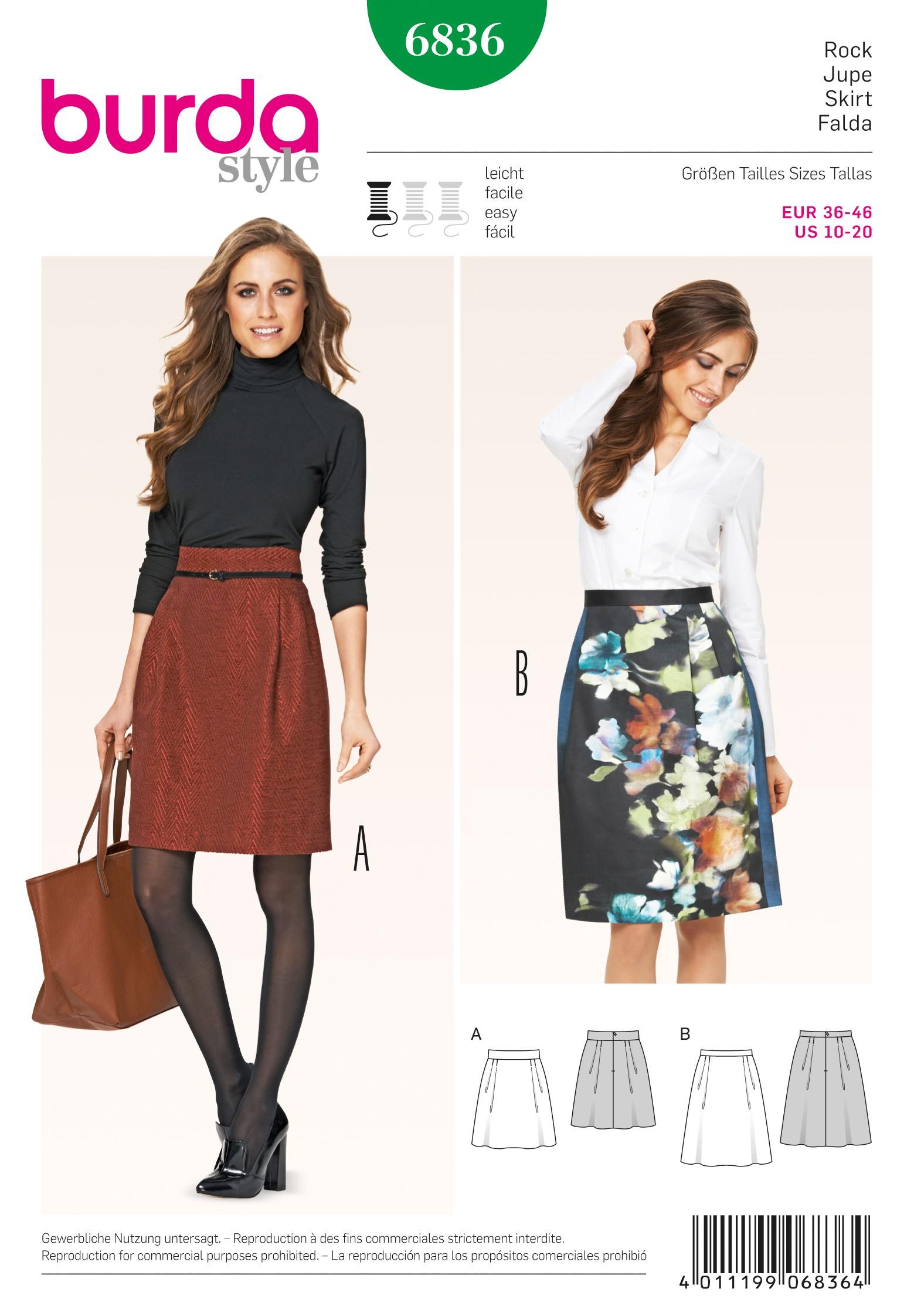 Burda Style Misses' Midi Length Formal Office Skirt Sewing Pattern 6836