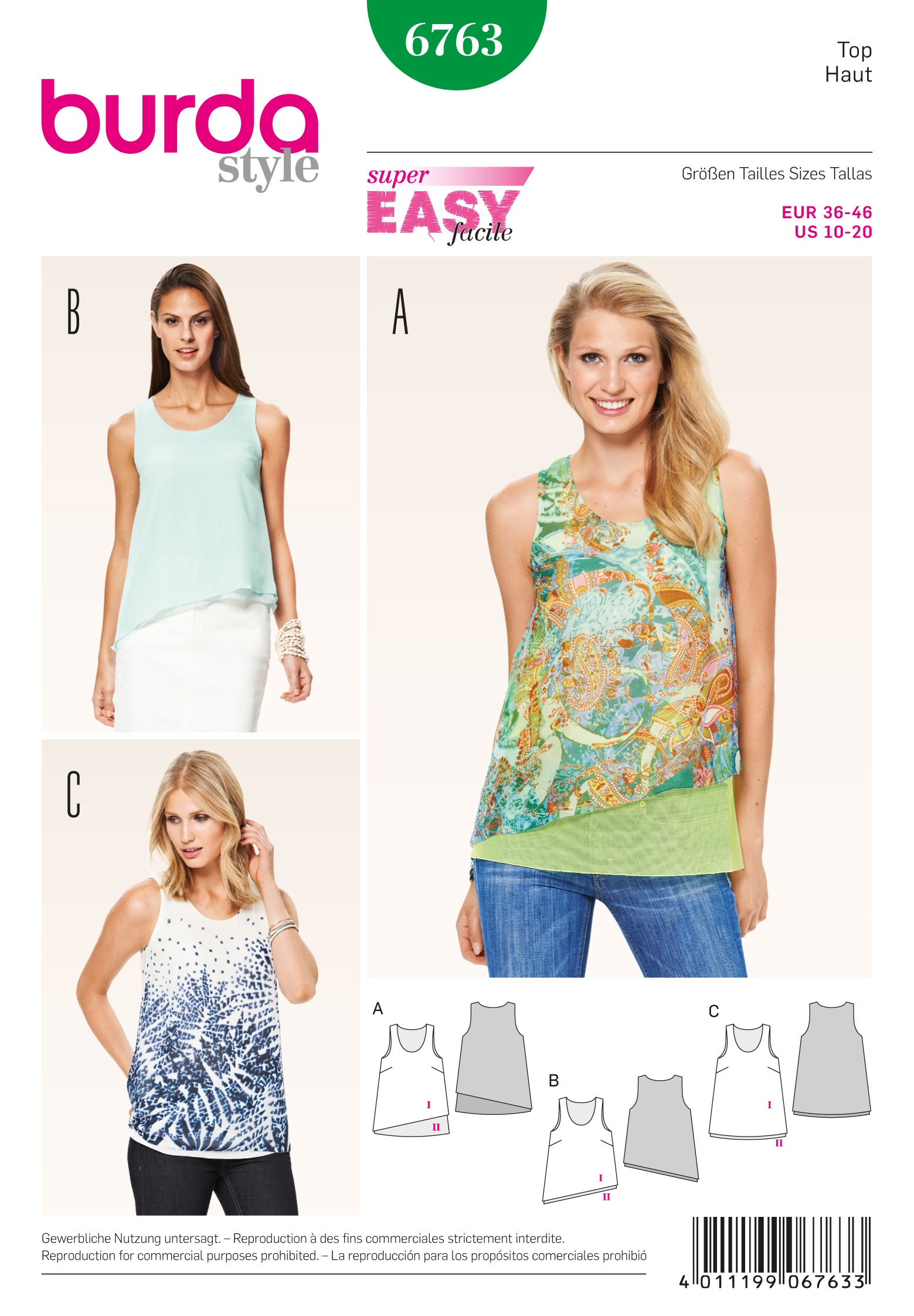 Burda Style Misses' Angled Flowing Shirt Sewing Pattern 6763