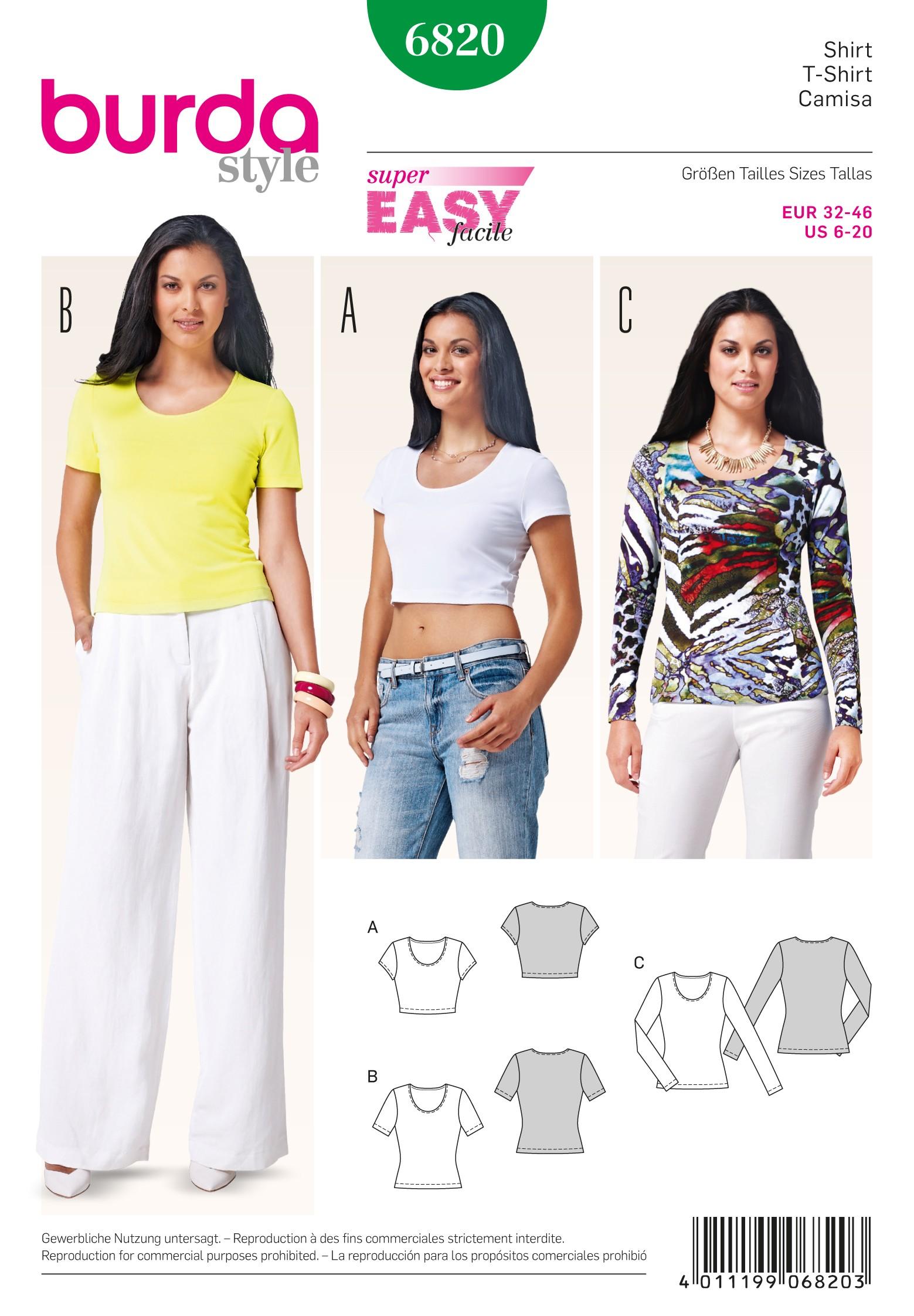 Burda Style Misses' Stylish Basic T-Shirt for Summer Sewing Pattern 6820