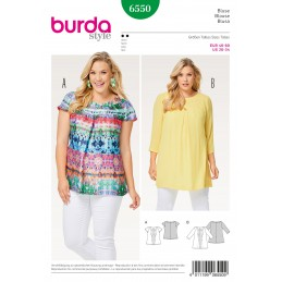 Burda Style Womans' Summer Pleated Blouse Sewing Pattern 6550