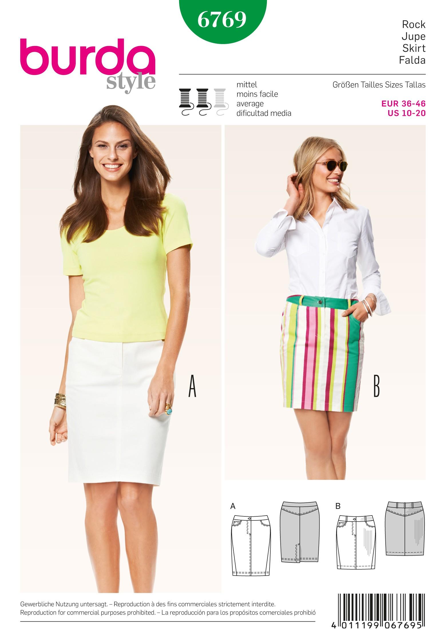 Burda Style Misses' Midi Formal Summer Skirt Sewing Pattern 6769