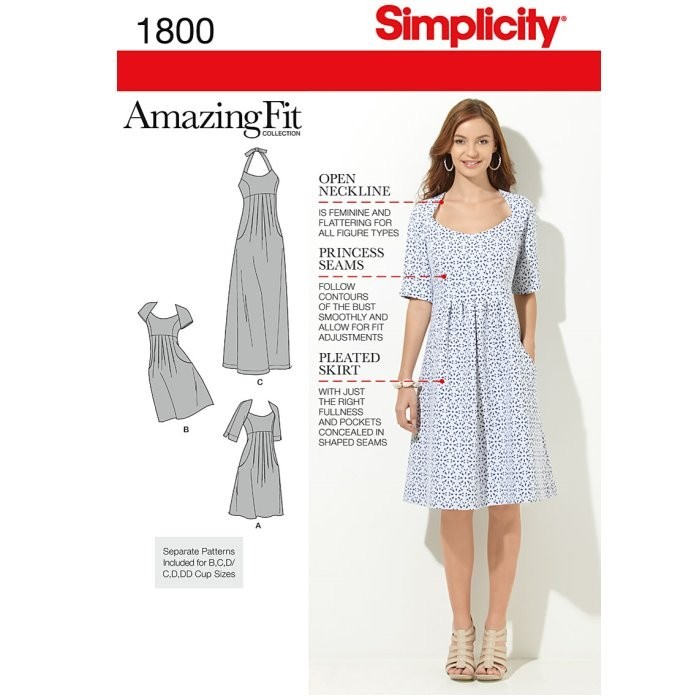 Simplicity Sewing Pattern 1800 Misses' & Plus Size Amazing Fit Dresses AA