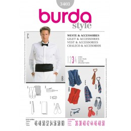 Burda Style Assorted Mens Vest, Tie and More Sewing Pattern 3403