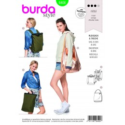 Burda Style Misses' Backpack With Zipper Fastener Rucksack Sewing Pattern 6400