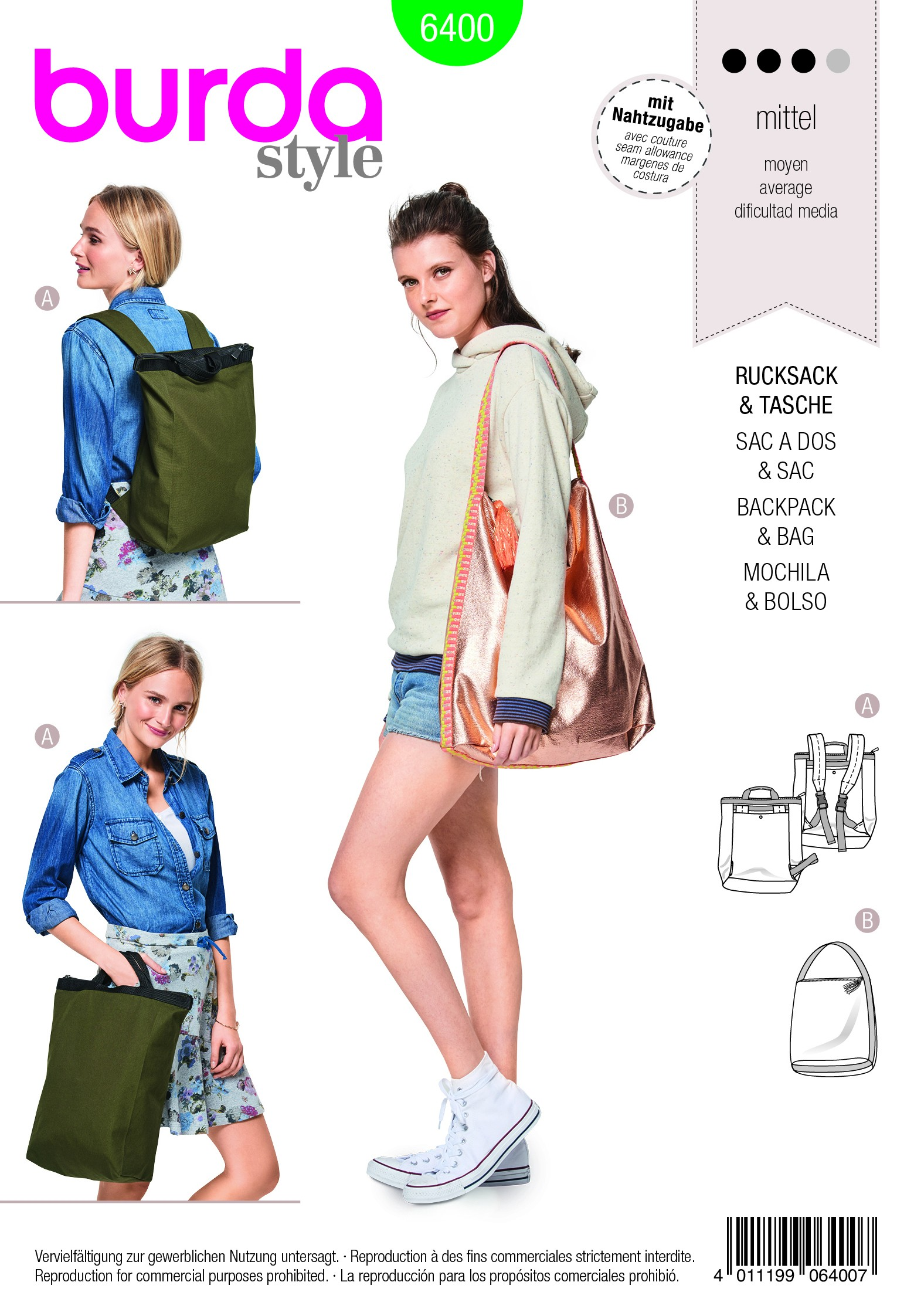 Burda Style Misses' Backpack With Zipper Fastener Rucksack Sewing Pattern 6400
