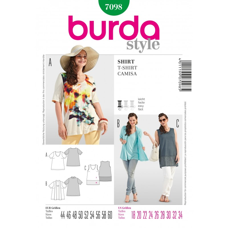 4aa401cf020b1 New Burda Style Plus Size Light Flowing Shirt for Summer Sewing Pattern 7098