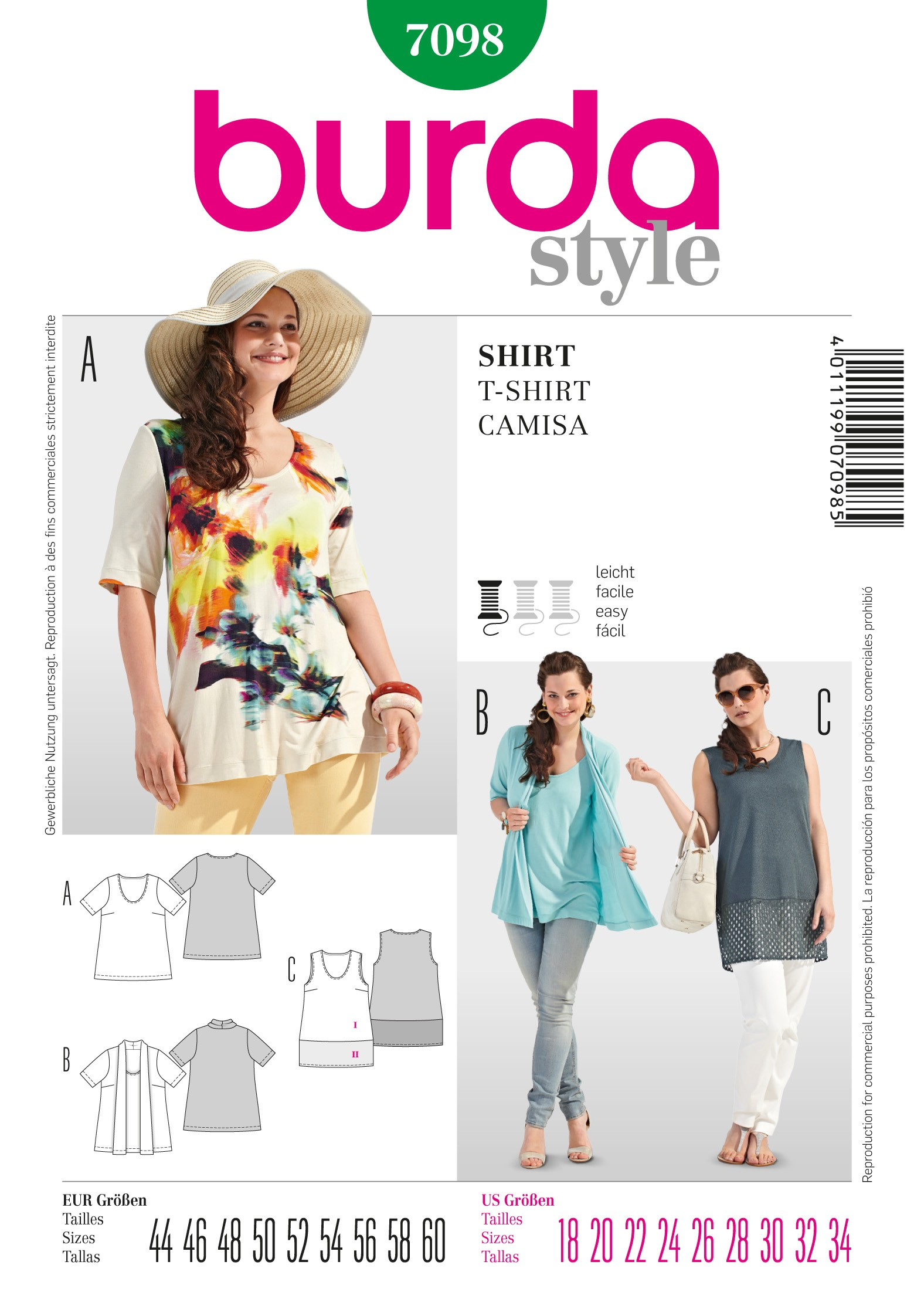 Burda Style Plus Size Light Flowing Shirt for Summer Sewing Pattern 7098