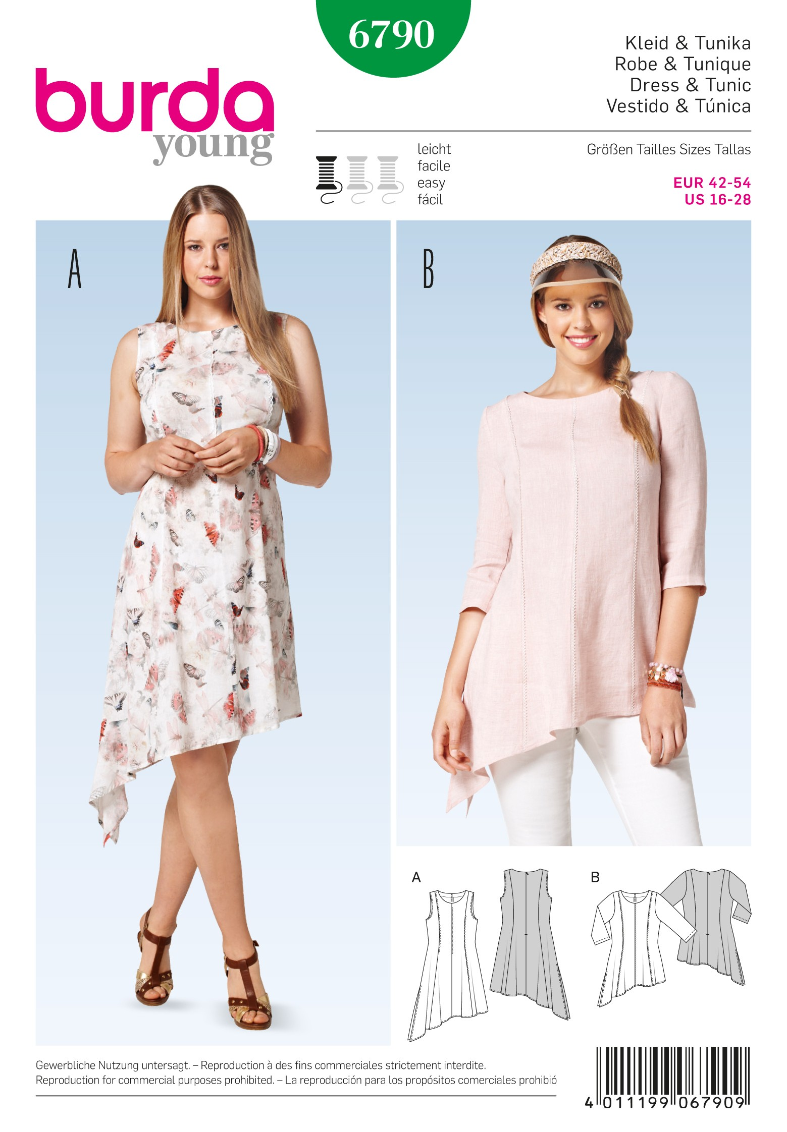 Burda Style Womans' Angled Sumer Dress or Blouse Sewing Pattern 6790