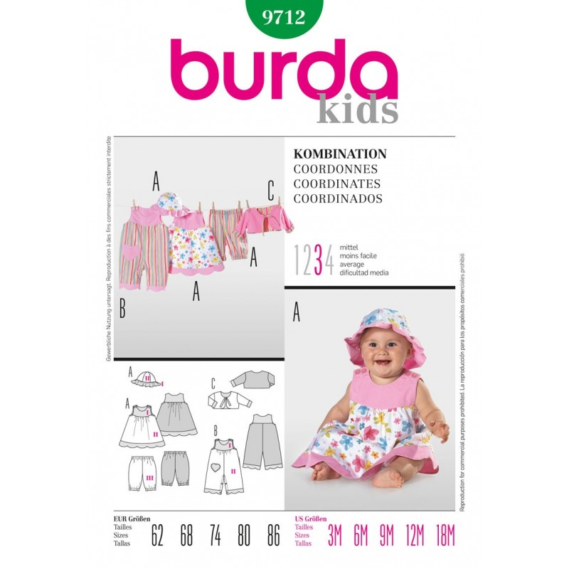 Burda Style Infant Toddlers Summer Dress and Outfit Sewing Pattern 9712