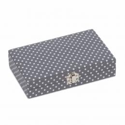 Hobby Gift 30 Spool Bobbin Box Storage Craft Sewing Thread Mini Grey Spot Closed