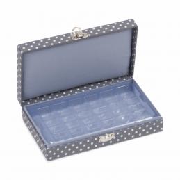 Hobby Gift 30 Spool Bobbin Box Storage Craft Sewing Thread Mini Grey Spot Open
