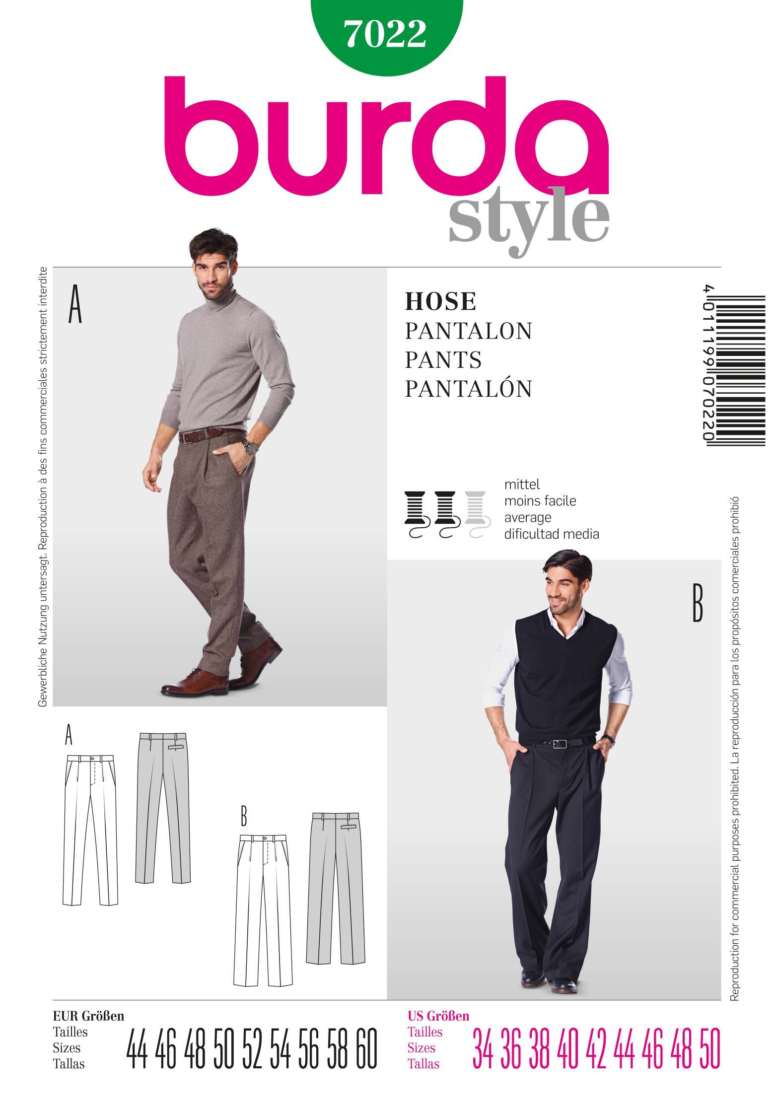 Burda Men's Smart Business Trousers Office Wear Sewing Pattern 7022