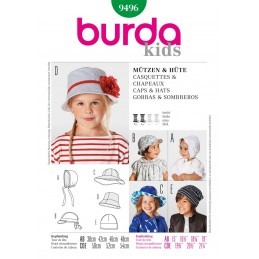 Burda Style Toddler and Child Summer Casual Hat Sewing Pattern 9496
