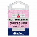 Hemline Twin Embroidery Machine Needles Medium 75/11 2.0mm
