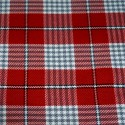 Tartan Plaid Check Polyviscose Fabric 150cm Wide, 190 gsm All Ranges 84A Grey & White On Red